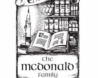 Celtic Candle Light and Books Personalized Ex Libris Rubber Stamp E14