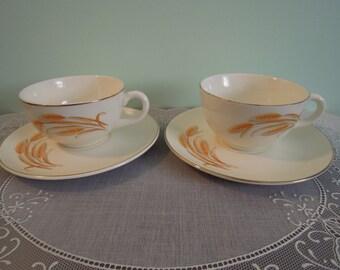 Duz Golden Wheat Teacups & Saucers - Teacup - Duz - Teacup - Teacup Saucer - Tea Cups - Vintage - Kitchen - Gift For Her - Gift For Mom