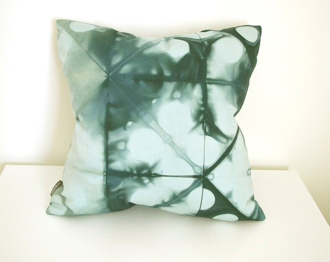 RESERVED - Green Shibori Pillow Cover 18x18 inches - Peacock