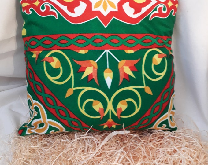 Egyptian fabric khayameyya cushion removable lotus flowers for an Arab decor in living room or bedroom. Gift girl, MOM
