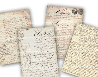 French Handwriting Digital Paper Clipart Antique Documents Vintage Decoupage Background Writing Printable Digital Collage Sheet Download 726