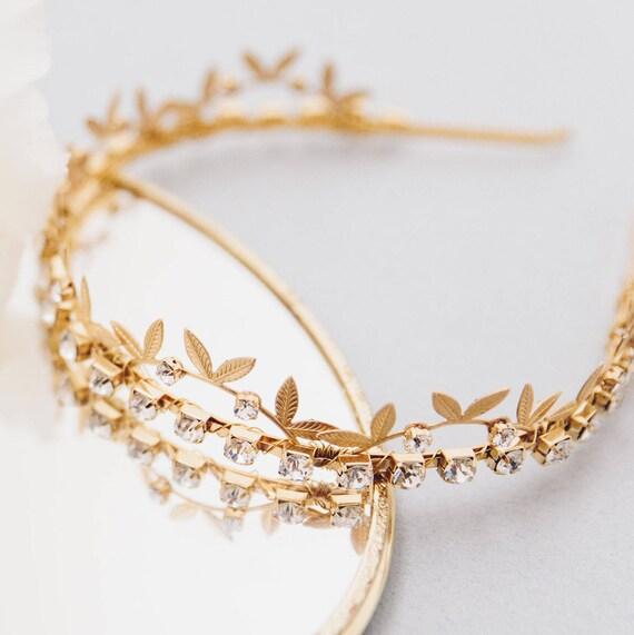 SAMPLE SALE Bridal Tiara, Wedding Accessory, Leaf Tiara, Swarovski Crystals Tiara, Headband, Wedding Tiara, Bridal Leaf Crown, LIZBETH