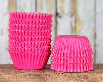 Mini Pink Cupcake Liners, Mini Bright Pink Cupcake Liners, Cake Pop Cups, Mini Paper Treat Cups, Candy Cups (100 count)