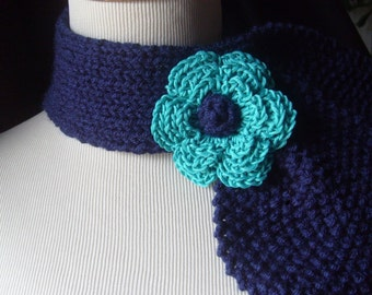 Vintage Inspired Ascot Necktie - In Navy Turquoise - ON SALE NOW