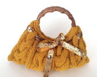 Saffron Cable Knitting Bag with Gold Ribbon, Yellow Handbag, Boho Bag