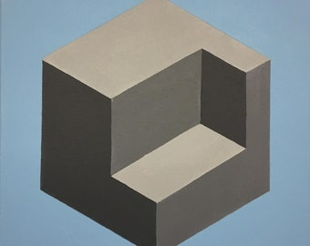Op Art Geometric Cube Painting