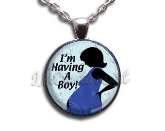 I'm Having Boy Girl Twins Dome Pendant or with Chain Link Necklace  WD130