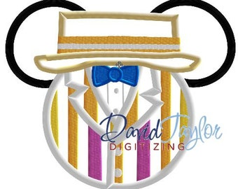 Mickey Head - Mary Poppins - Bert - Embroidery Machine Design - Applique - Instant Download - David Taylor Digitizing