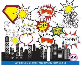 SUPERHERO clip art and backgrounds set of 20 designs - pow - bang - bam - city - clouds - superhero bubbles - red and blue-  300 dpi images