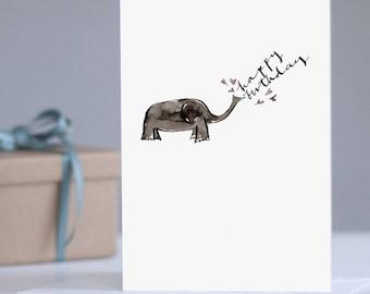 Happy Birthday Elephant Card: Birthday Card, Card for Elephant Lover, Keepsake Card, Adult Card, Typography Card, Illustrated Birthday Card