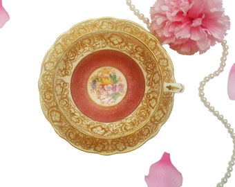Ornate Hammersley Teacup with Lots of Gold Gilding, Pastel Pink Floral Teacup, Made in England