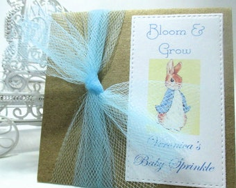 Sweet Baby Sprinkle or Shower - Peter Rabbit - Bunny - Personalized - Favors - Wildflower Seeds - Bloom & Grow - Kraft Brown - Set of 10