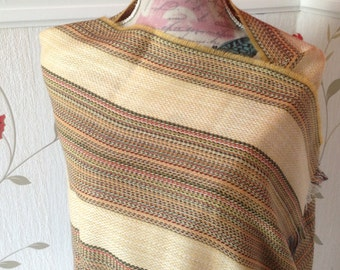 Irish Shawl - Celtic Wrap - Stole - 100% Wool - MultiColor Stripe with Gold - Merino Wool with Cashmere