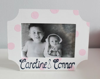 Picture Frame for Kids- Handpainted- PERSONALIZED SIBLINGS Theme