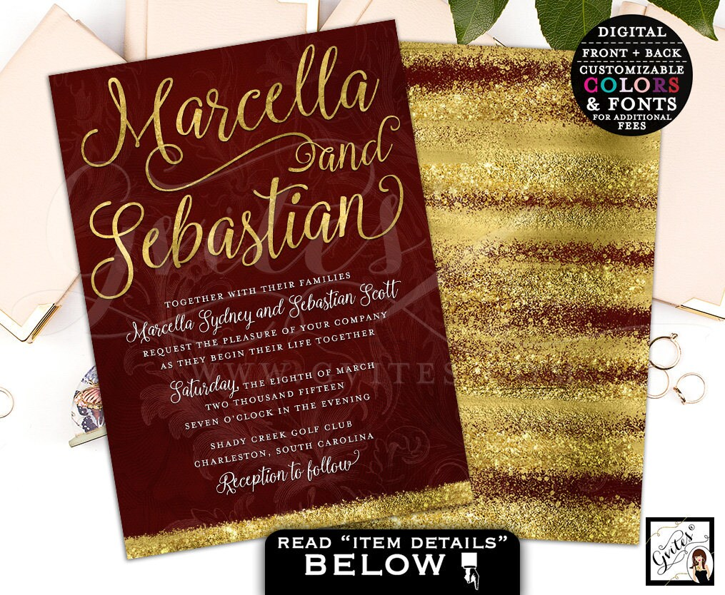 Burgundy and gold wedding invitation, wine and gold invitations ...