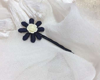Barrette hair pin flower Navy Blue lace wedding/baptism/party/ceremony