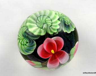Orient & Flume Pink Floral Ltd Ed Paperweight by Ed Seaira - 1988