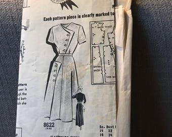 Vintage 40s Sue Barnett 8622 Dress Pattern-Size 16 (34-28-37)