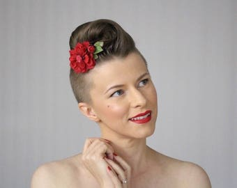 """Flower Hair Clip, Red Clip for Women, Rose Hair Accessory, Camellia Hair Piece, Small Floral Clip for Hair, Vintage 1940s - """"Just One Kiss"""""""