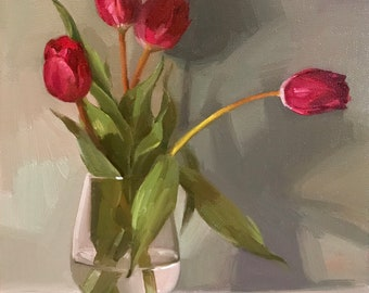 "Fine Art painting floral flowers still life ""Four Tulips"" 10x10"" original oil on canvas by Sarah Sedwick"