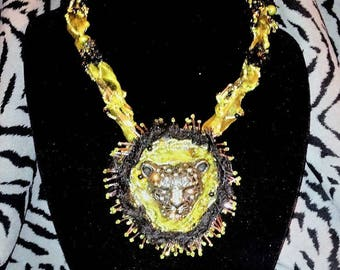 BLACK LEOPARD (Necklace and earrings set - free-form beaded embroidery with wired ribbons twisted together to form neck strands.)