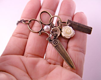 Brass Scissors Necklace with mini Button, Ruler and Cabochon on 18 Inch Brass Chain