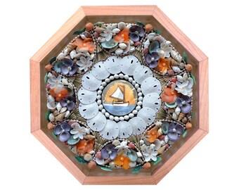 Nantucket Sailors' Valentine Seashell Mosaic Octagonal Design