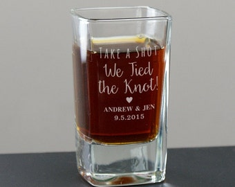 Engraved Tied The Knot Shot Glass, wedding favor, custom glassware, personalized shot glass, wedding party gift, shot glasses  -gfyL9510114