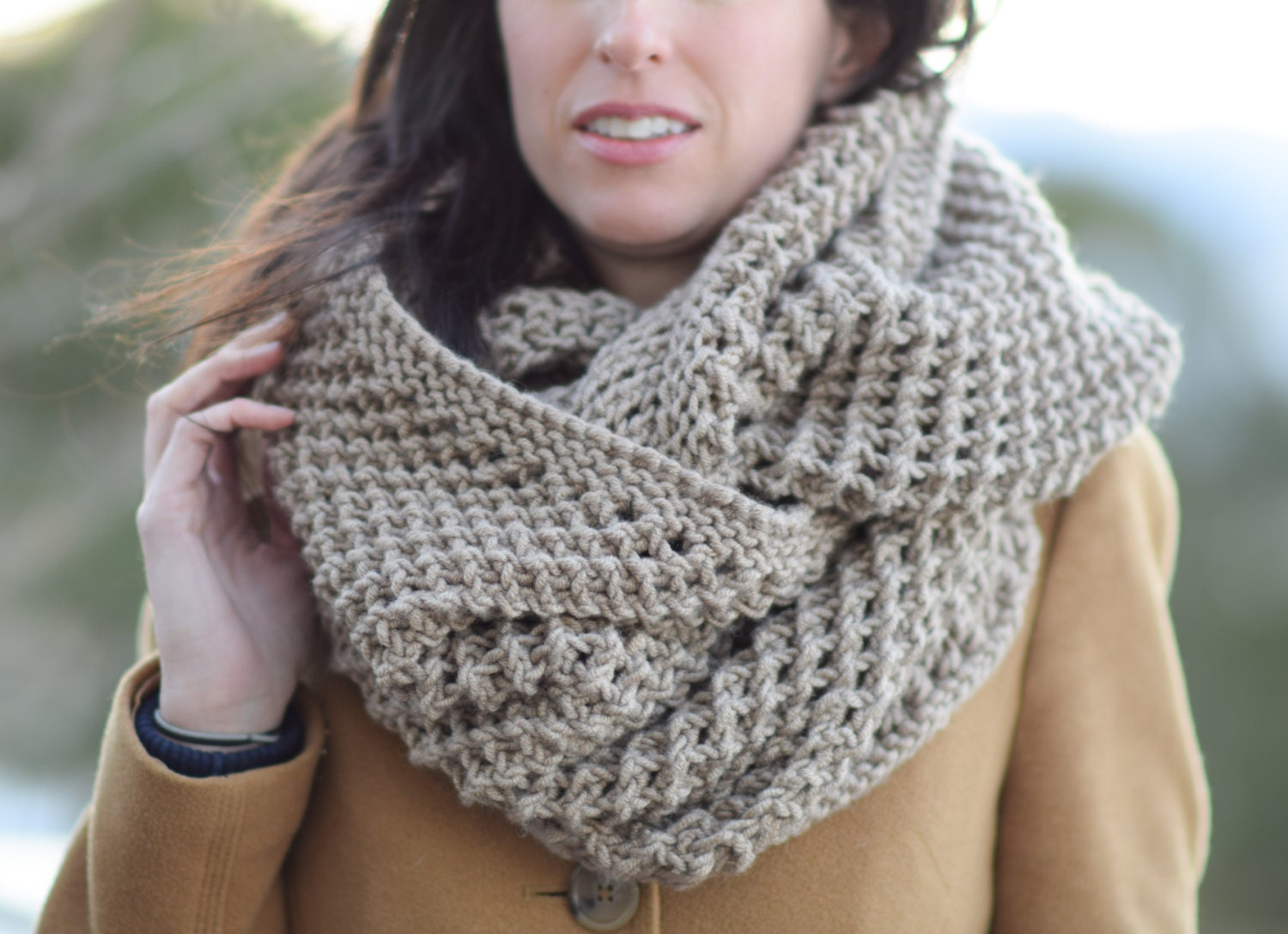 Big Knit Scarf, Knit Infinity Scarf Pattern, Bulky Knitting Pattern ...