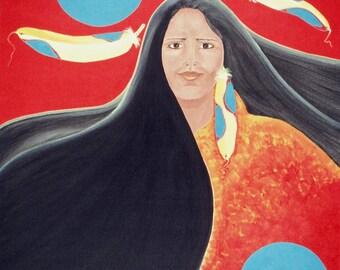 "Giclee Print Fine Art Paper Native American Print Surreal Print Metaphysical Print ""Flight of Fancy"""
