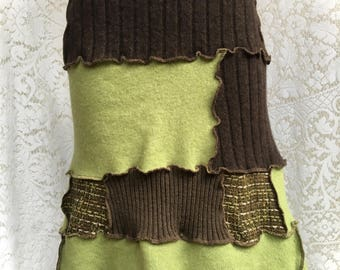 Warm Winter Skirt, Upcycled Wool Sweater Skirt, Brown, Lime Green, Tweed Patchwork, Women Large-XL, #SK440