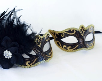 Gold and Black phantom his and hers couples masquerade masks for masquerade ball parties