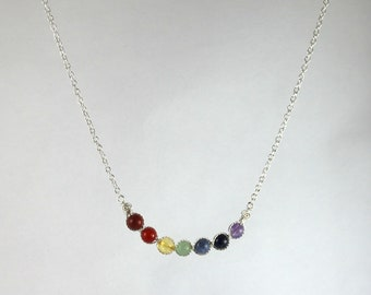 7 Chakras bar and chain necklace model J