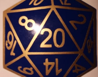 D20 decal large, 63 color options, almost 4000 combinations