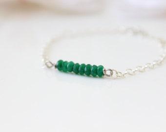 Emerald bracelet • Sterling silver bracelet with green agate gemstone beads • Gift for her