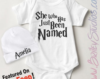 ORIGINAL She Who Has Just Been Named Newborn Baby One Piece Bodysuit, Personalized Baby Shower Gift, Gender Reveal, Coming Home Outfit