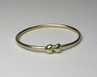 Solid Gold Tiny Hearts Ring