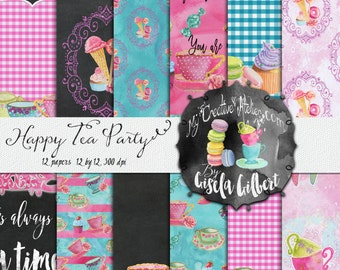 Digital paper pack. Printable Pattern for Planner Stickers and digital scrapbook Happy Tea Party.