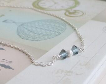 Sterling silver anklet, blue Swarovski crystals, silver bead, something blue, delicate minimal silver anklet, beach wedding bridesmaid bride