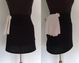 Black Linen Half Apron with Pockets and Towel Loop, Bistro Apron, Server Apron, Waitress Apron, Restaurant Apron, Utility Apron, Craft Show