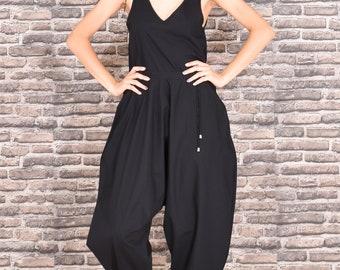 Trendy jumpsuit-breeches in black, Unique black women jumpsuit, Super comfortable and trendy jumpsuit, Plus size harem jumpsuit