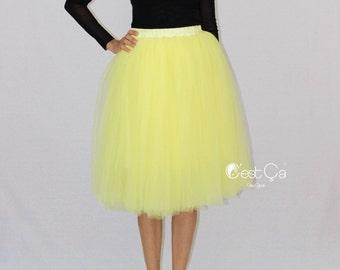 Colette - Lemon Yellow Tulle Skirt, Soft Tulle Skirt, Tea Length Tulle Skirt, Adult Tutu, Plus Size Tulle Skirt