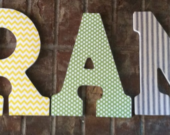 Nursery Letters- Personalized boy's name- Grant- Blue, Orange, yellow, green Nursery- Wooden Hanging Letters - Honey Boo Boutique, Monogram