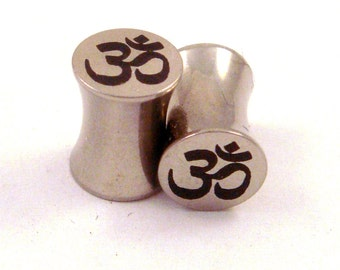 """Om Symbol Stainless Steel Plugs - Double Flared - 2g 0g 00g 7/16"""" (11 mm) 1/2"""" (13mm) 9/16"""" (14mm)  Ohm Metal Gauges"""