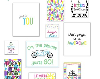 Classroom Decor, Kid's Wall Art, Inspirational Art, Teacher Art - Art Prints - Instant Download - Set of 20: 8x10, 5x7 and more