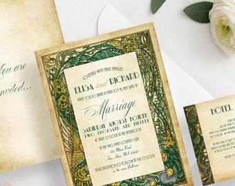 Wedding Invitations Retro Foliage Wedding invitation sample Vintage wedding invitation Gatsby art deco Roaring 20s {Madera design}
