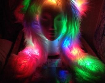 LightUp Rainbow Faux Fur Belt (RGB LED light optional) a0LFHpdVVV