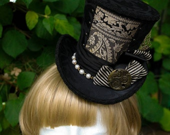 Goldenrod Topper, Wonky Top Hat - Handmade - One of a Kind - Steampunk
