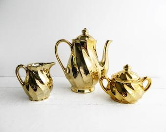 Vintage Shiny Gold Swirl Tea Set - Porcelain Teapot Creamer and Sugar Bowl - Made in Japan
