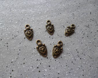5 small flowers in antique bronze charms